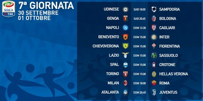Serie A Calendario 7 Giornata.Presentazione 7 Giornata Di Serie A E Calendario 30 09 1 10
